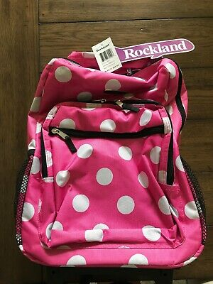 NWT Rockland Luggage 17 Inch Rolling Backpack PINK DOT