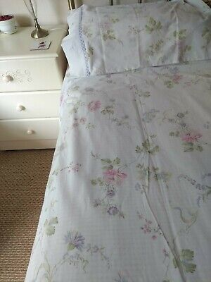 Large Horrockses Single DuvetCover+4 Pillowcases Lilac Gingham/Floral Reversable