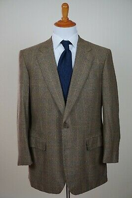 100% Cashmere Chester Barrie Made In England Wheat Check Sport Coat 44L