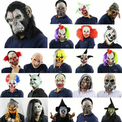 Horror Zombie Clown Latex Face Masks Halloween Cosplay Party Costume Fancy Props
