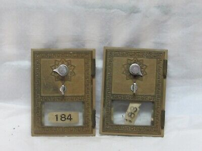 (2x) Vintage Antique BRASS Post Office Door Postal Mail POST OFFICE BOX DOORS