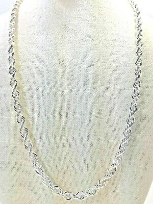 "Men's 5mm diamond cut rope chain necklace  30"" sterling silver plated"