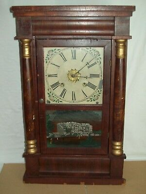 """Antique"" Waterbury ~ Weight Driven Movement ~ Reverse Painted / Empire Clock"