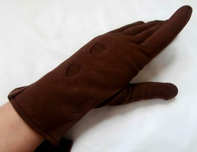 BNWOT Vintage 1960's Dark Brown Cosy Lined Nylon Wrist Gloves Size 7 1/2 Large