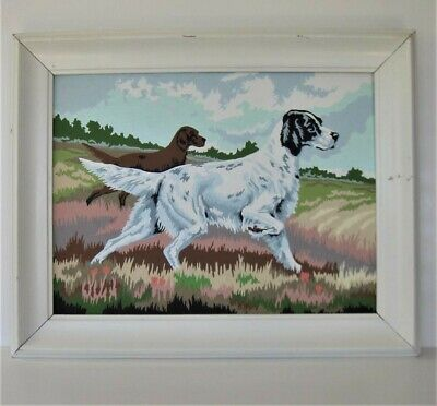 Vtg PAINT By NUMBER POINTER HUNTING BIRD DOG, Framed  19 x 14, MID-CENTURY art