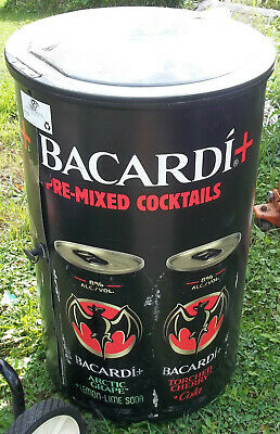 "Bacardi Premixed Cocktails Logo Ice Barrel Cooler Plastic 25"" Tall On Wheels"