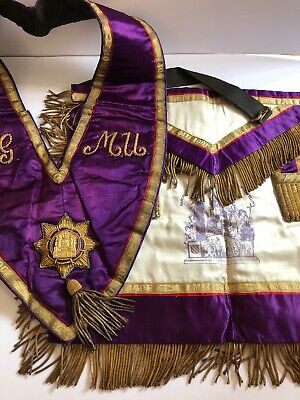 Masonic Regalia - Manchester Unity Provincial Apron & Collar Authentic Vintage