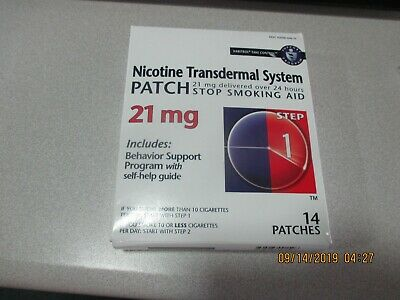 Nicotine transdermal system patch 21mg new in factory package exp. 11-2019