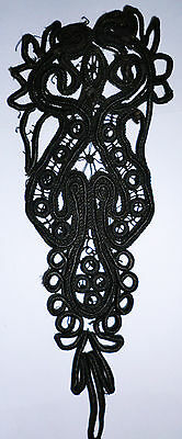 "Large Vintage Antique French Black Soutache Mourning Applique Trim 10"" X 4"" Old"