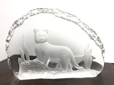 Tilley Lead Free Crystal Glass Paperweight Canada Bobcat