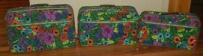 Vintage 1970s Retro MOD Groovy Flower Power Luggage Suitcase Set LOT 3 Nesting