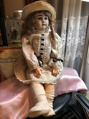 Beautiful Reproduction Antique German Bisque Head Doll Set Blue Eyes  Doll