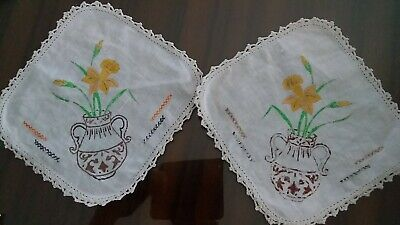 Pair of DOILIES.  Ready to Embroider with  crochet edge. Daffodils in Urn.