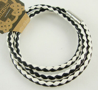 "5PCS 22.83"" 58mm Men's PU Leather  Necklace Chain White & Black"