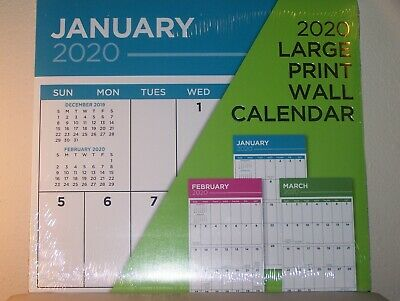 """""""NEW"""" LARGE PRINT 2020 Wall Calendar 12x24 Inches. By Greenbrier"""