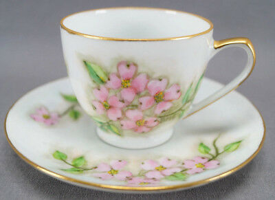 Pair of Hand Painted Signed BMS Pink Dogwood Flower Demitasse Cups & Saucers