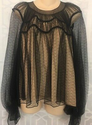 Chloe Top Black  Lace Full Sleeve Nude Silk Lining NWT $2795 Size  36