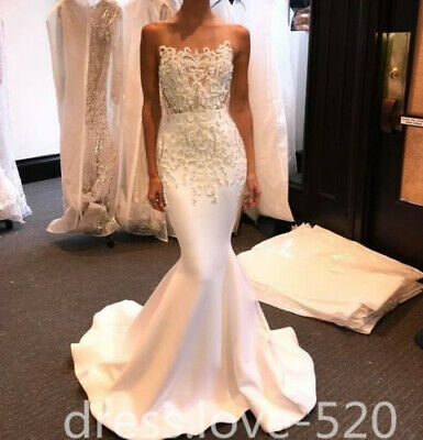 Lace Beaded Satin Charming Mermaid Wedding Dress White/Ivory Custom Bridal Gown