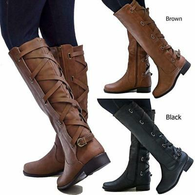 Womens Lady Slim Calf Knee High Stretch Buckle Zip Winter Riding Cowboy Boots Jj