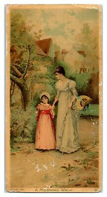 1892 Victorian Mother and Daughter on Morning Walk Trade Card *VT21