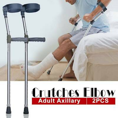 2xUnderarm Forearm Elbow Crutches Adjustable Walking Stick Ergonomic Design Grip