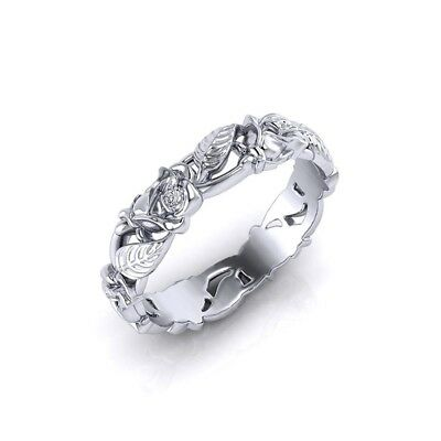 Flower Pattern Women 925 Silver ExquisiteWedding Engagement Ring Jewelry Size 7