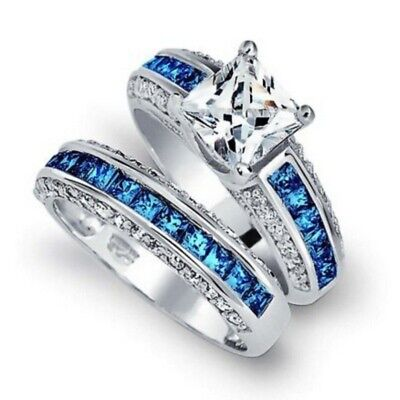 925 Silver White Sapphire&Sapphire Women Bridal Eternity Wedding Ring Set Size10
