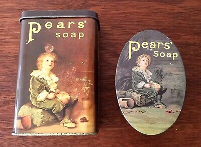 Vintage Style Two Pears Soap Tins Iconic Picture Boy Blowing Bubbles Collectable