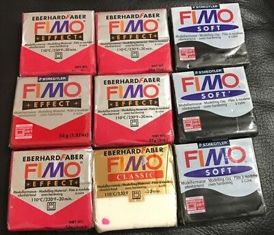 EBERHARD FABER FIMO EFFECT/ CLASSIC & STAEDTLER FIMO SOFT  Lot Of 9