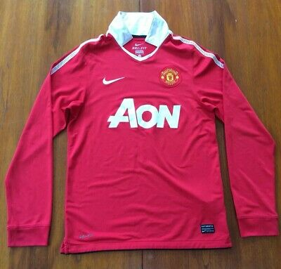 Manchester United Home Shirt 2010/11 Long Sleeve Mens Small Nike Football Jersey