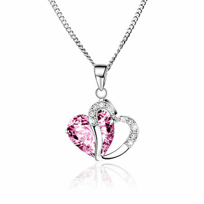 Children's Girl's Kids Jewellery Crystal HEART Necklace & Sterling Silver Chain