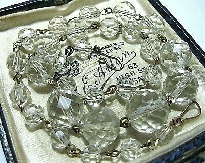"""Vintage Jewellery Antique 1930s Art Deco Clear Glass Crystal Bead 17"""" Necklace"""