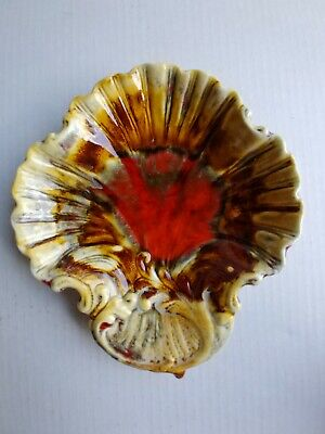 Vntg California Pottery Marcia Serving Candy Catch All Dish Brown Yellow & Red
