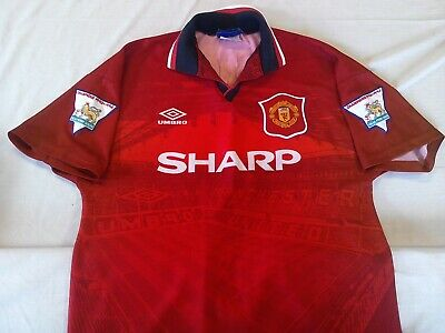 Manchester United 1994-95 Home Football Shirt Mens M Sharp Hughes 10 & Patches