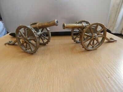Pair Of Old Brass Cannons Made England