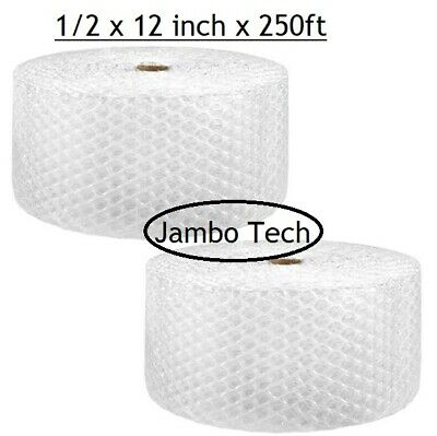 """Bubble Wrap 1/2""""x 12"""" x 250 ft Bubble Roll packing moving, perf every12 (2ROLLS)"""