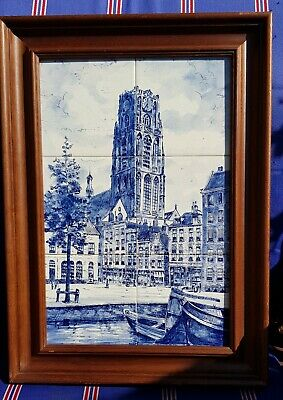 Delft Blue Framed 6 Tile Tableau Of The Laurens Church In Rotterdam Holland