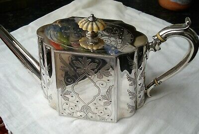 A lovely Antique Victorian Chased Silver Plated Teapot By Elkington & Co C1875