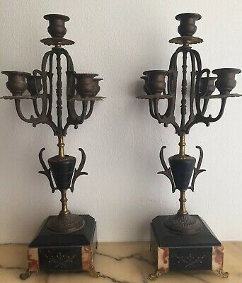 Pair Of Antique 1880s Spelter & Marble 5 Branch Candelabras. French .