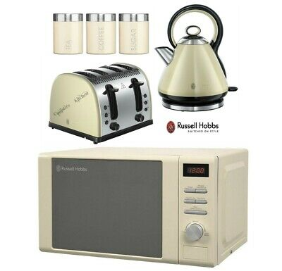 Russell Hobbs Legacy Kettle and Toaster + Heritage Microwave & Canisters - Cream