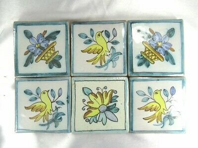 "6 Vintage Handpainted Bird & Flowers 3 3/8"" Sq Red Clay Tiles ~Italy ~Portugal"