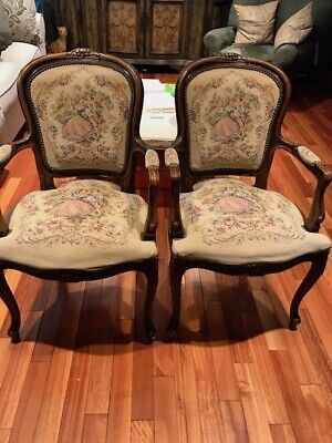 Pair of Vintage Louis XV Style Floral Tapestry Fabric Armchairs - Local Pickup
