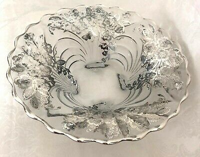 Antique 1920's STERLING SILVER OVERLAY FLOWERs SCALLOPED Silver RIM FOOTED BOWL