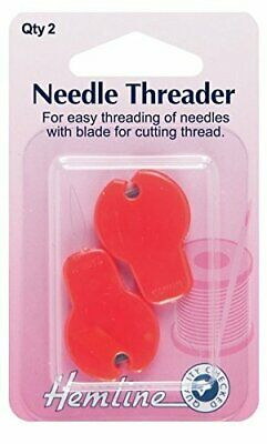 Hemline Plastic Hand Sewing Needle Threaders with Cutter 2 Pack