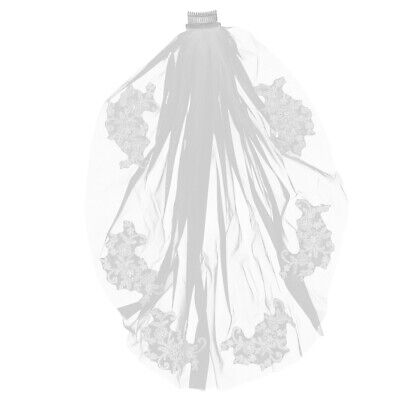 1PC Elegent Stylish Crystal Short Bridal Veils with Lace Appliques for Female