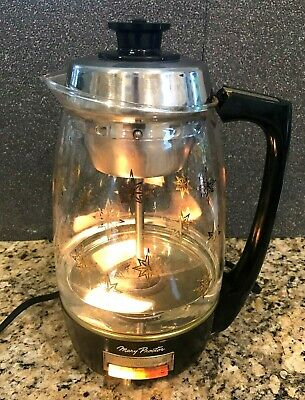 Vintage Proctor Silex Glass Percolator Light-Up Atomic Starburst Coffee Pot EUC
