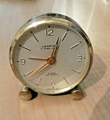 Tiny vintage Swiss 8 day looping alarm or travel clock