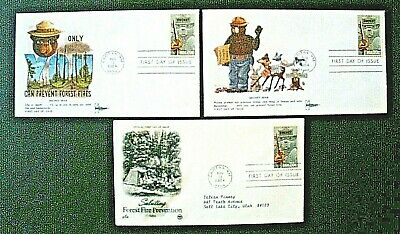 3 Smokey Bear 1984 First Day of Issue Cancellations  Smokey Bear Stamp   Capitan