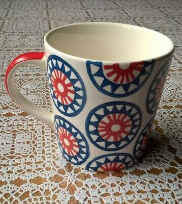 Whittard of Chelsea Large Hand Painted Ceramic Cream Blue Red Ethnic Star Mug