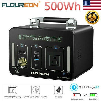 500Wh Portable Outdoors Power Generator Lion Charger Power Bank AC DC USB Input